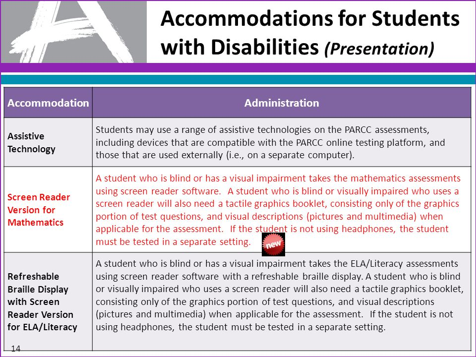 Accommodations for Students with Disabilities (Presentation) AccommodationAdministration Assistive Technology Students may use a range of assistive technologies on the PARCC assessments, including devices that are compatible with the PARCC online testing platform, and those that are used externally (i.e., on a separate computer).