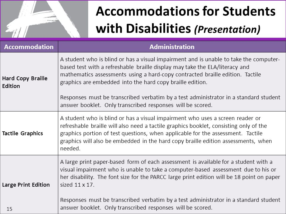 AccommodationAdministration Hard Copy Braille Edition A student who is blind or has a visual impairment and is unable to take the computer- based test with a refreshable braille display may take the ELA/literacy and mathematics assessments using a hard-copy contracted braille edition.