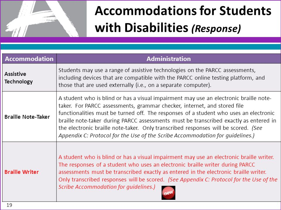 AccommodationAdministration Assistive Technology Students may use a range of assistive technologies on the PARCC assessments, including devices that are compatible with the PARCC online testing platform, and those that are used externally (i.e., on a separate computer).