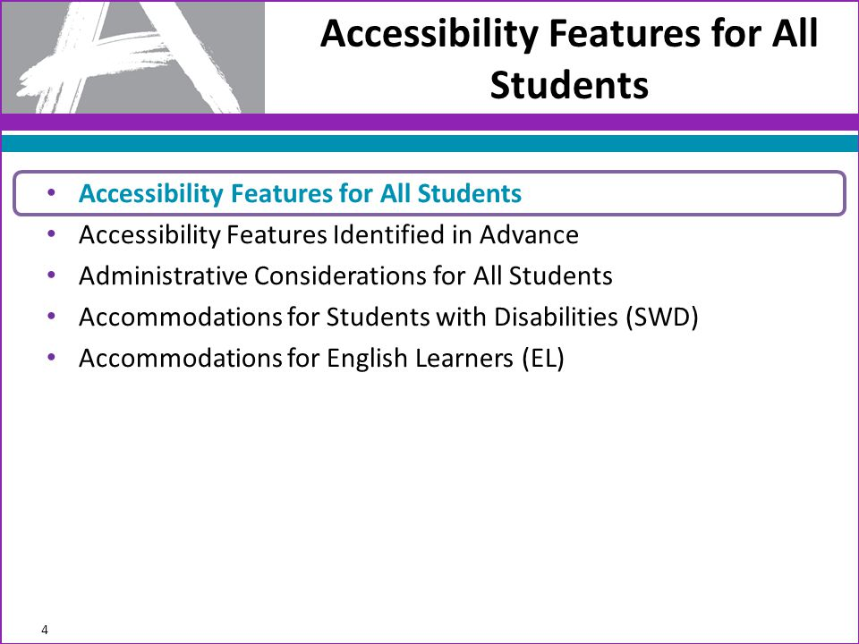 Accessibility Features for All Students Administration Instructions Audio Amplification The student raises or lowers the volume control, as needed, using headphones.