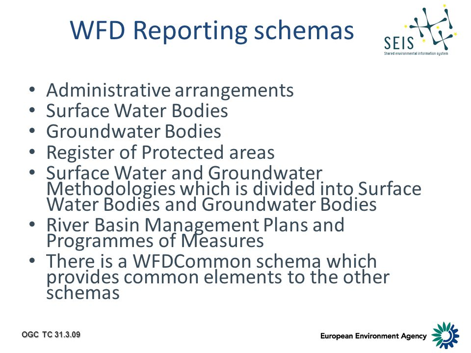 OGC TC 31.3.09 WFD Reporting schemas Administrative arrangements Surface Water Bodies Groundwater Bodies Register of Protected areas Surface Water and Groundwater Methodologies which is divided into Surface Water Bodies and Groundwater Bodies River Basin Management Plans and Programmes of Measures There is a WFDCommon schema which provides common elements to the other schemas