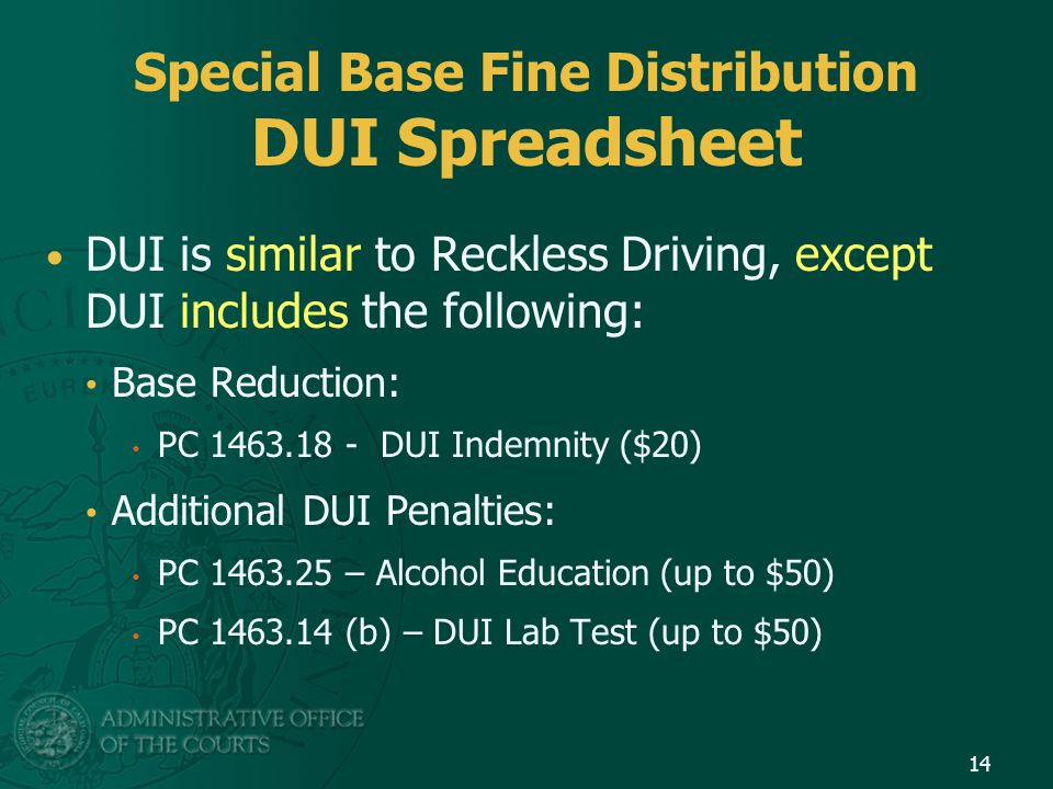 Special Base Fine Distribution DUI Spreadsheet DUI is similar to Reckless Driving, except DUI includes the following: Base Reduction: PC 1463.18 - DUI Indemnity ($20) Additional DUI Penalties: PC 1463.25 – Alcohol Education (up to $50) PC 1463.14 (b) – DUI Lab Test (up to $50) 14