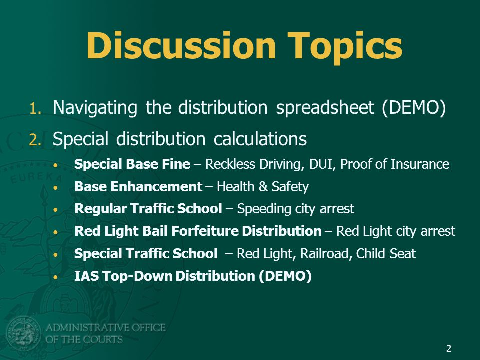 Discussion Topics 1. Navigating the distribution spreadsheet (DEMO) 2.