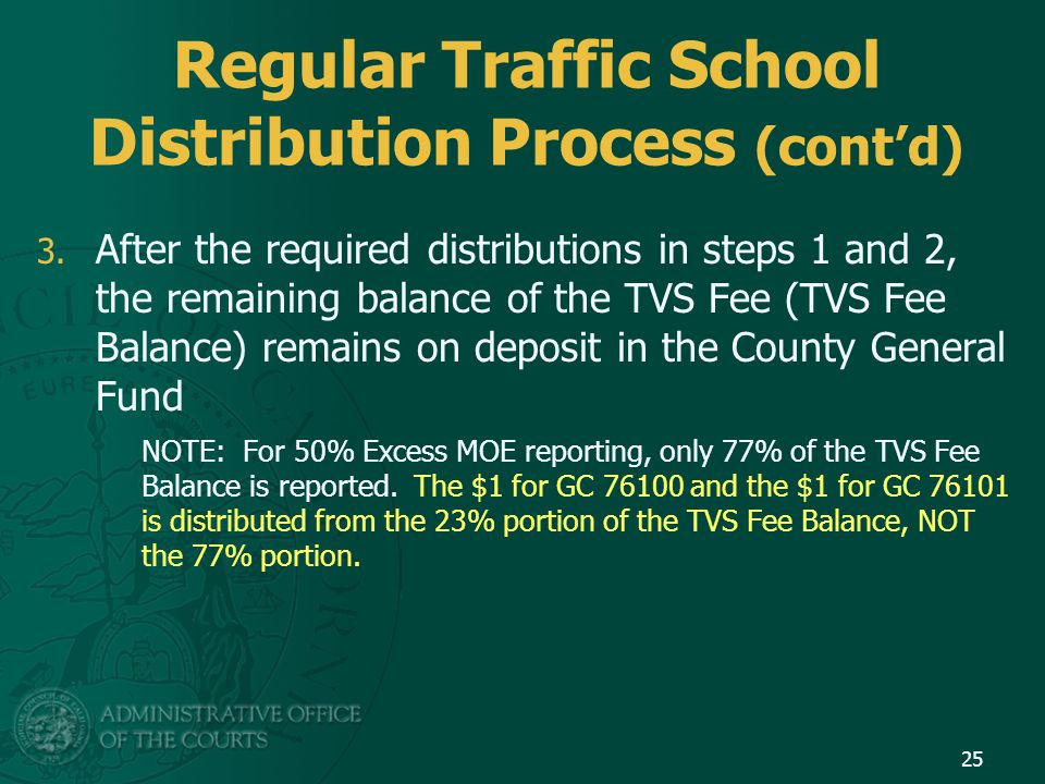 Regular Traffic School Distribution Process (cont'd) 3.