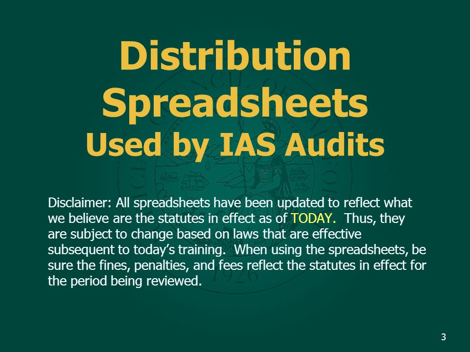 Review How to Navigate and Use the Internal Audit Services Audit Spreadsheet. 4