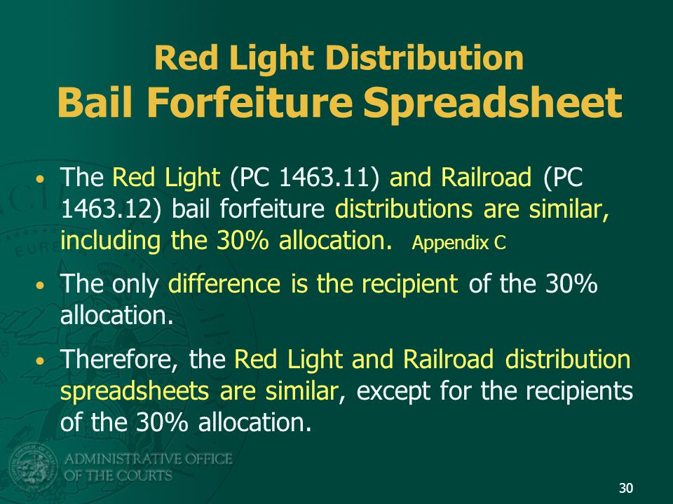 Red Light Distribution Bail Forfeiture Spreadsheet The Red Light (PC 1463.11) and Railroad (PC 1463.12) bail forfeiture distributions are similar, including the 30% allocation.