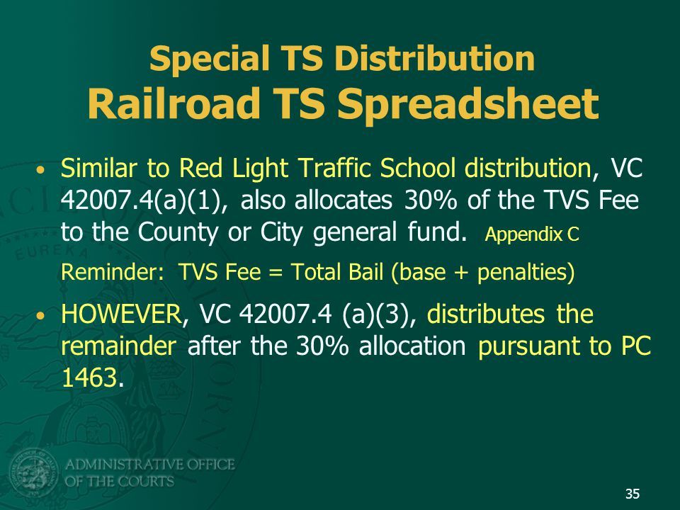 Special TS Distribution Railroad TS Spreadsheet Similar to Red Light Traffic School distribution, VC 42007.4(a)(1), also allocates 30% of the TVS Fee to the County or City general fund.
