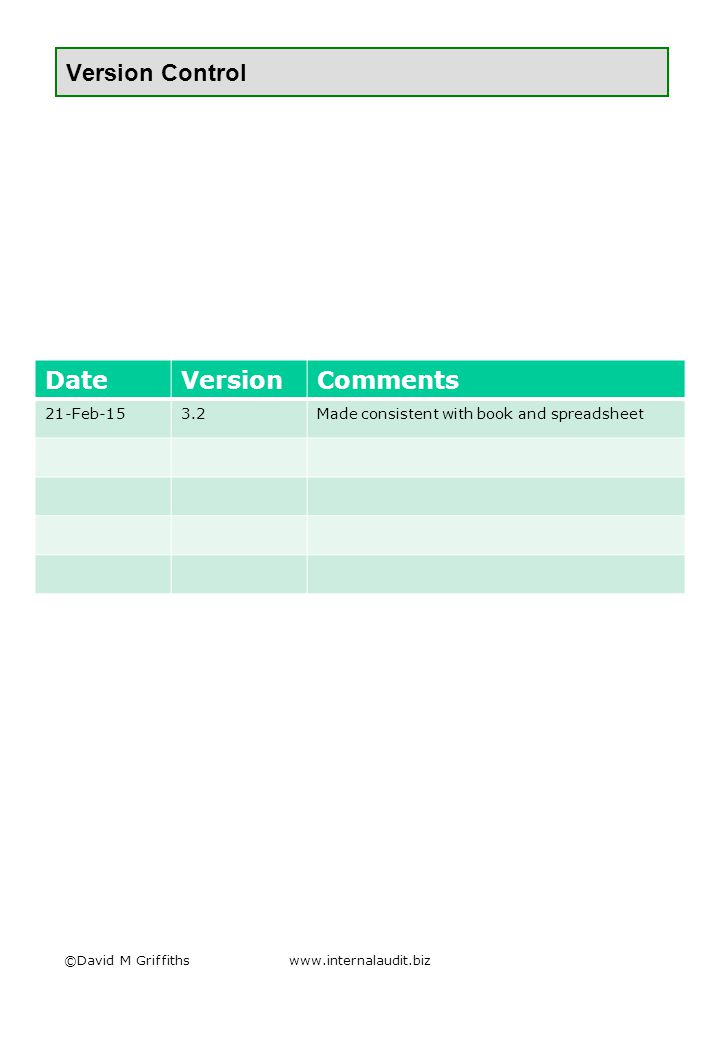 Version Control ©David M Griffithswww.internalaudit.biz DateVersionComments 21-Feb-153.2Made consistent with book and spreadsheet