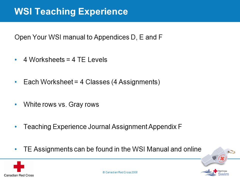 WSI Teaching Experience Open Your WSI manual to Appendices D, E and F 4 Worksheets = 4 TE Levels Each Worksheet = 4 Classes (4 Assignments) White rows vs.