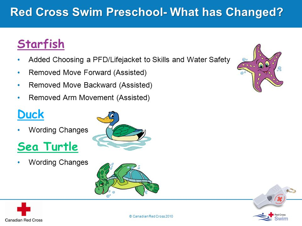© Canadian Red Cross 2010 Red Cross Swim Preschool- What has Changed.