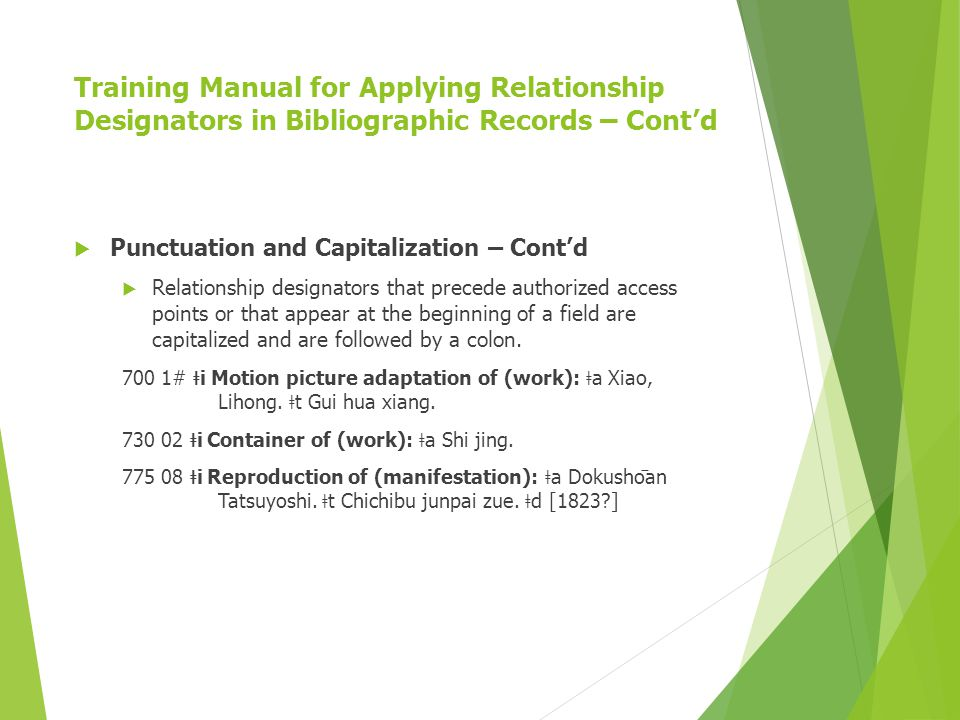 Training Manual for Applying Relationship Designators in Bibliographic Records – Cont'd  Punctuation and Capitalization – Cont'd  Relationship designators that precede authorized access points or that appear at the beginning of a field are capitalized and are followed by a colon.