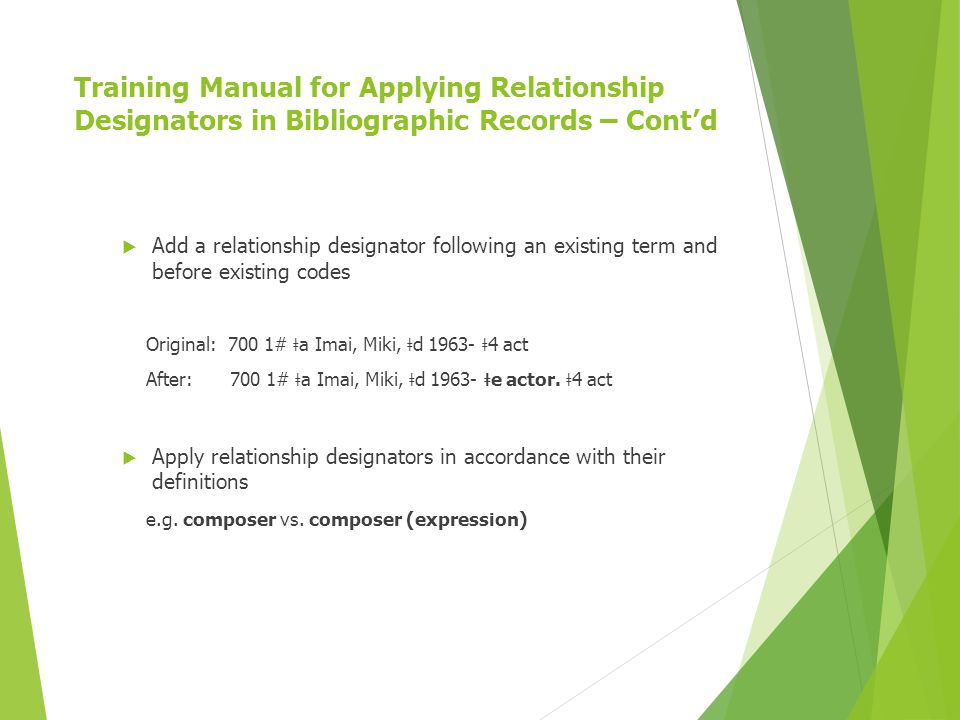 Training Manual for Applying Relationship Designators in Bibliographic Records – Cont'd  Add a relationship designator following an existing term and before existing codes Original: 700 1# ǂ a Imai, Miki, ǂ d 1963- ǂ 4 act After: 700 1# ǂ a Imai, Miki, ǂ d 1963- ǂ e actor.