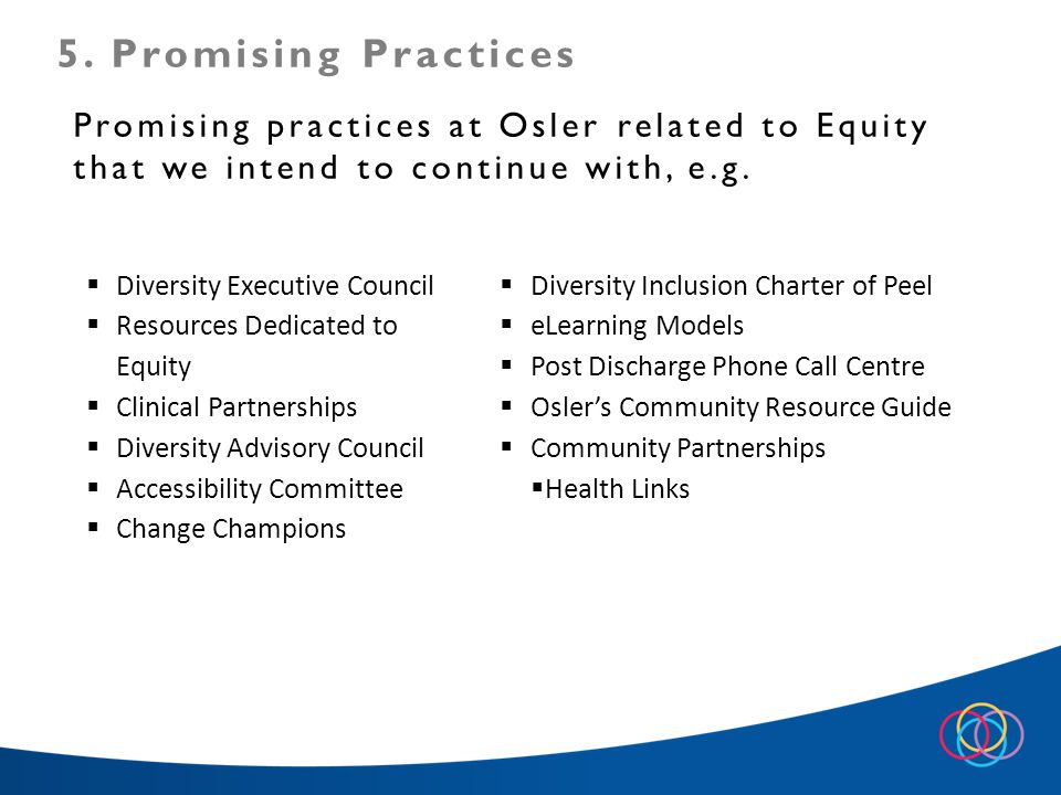 Promising practices at Osler related to Equity that we intend to continue with, e.g.