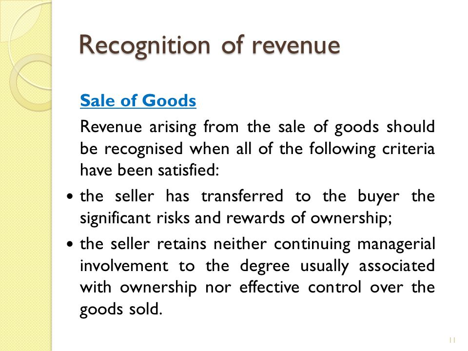 Recognition of revenue Sale of Goods Revenue arising from the sale of goods should be recognised when all of the following criteria have been satisfie