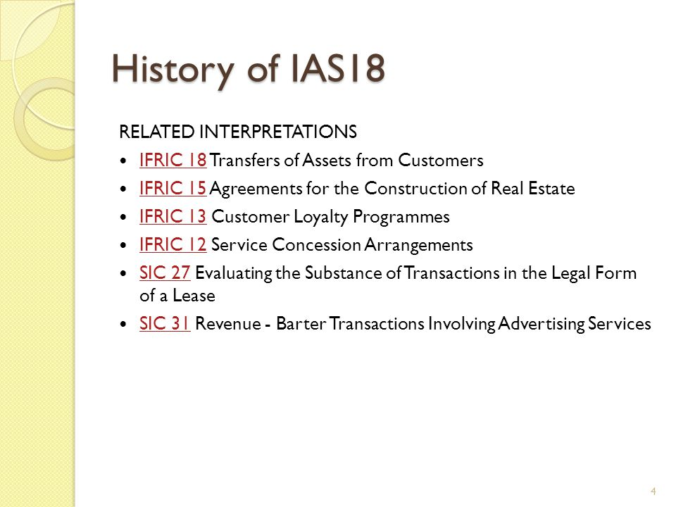 History of IAS18 RELATED INTERPRETATIONS IFRIC 18 Transfers of Assets from Customers IFRIC 18 IFRIC 15 Agreements for the Construction of Real Estate