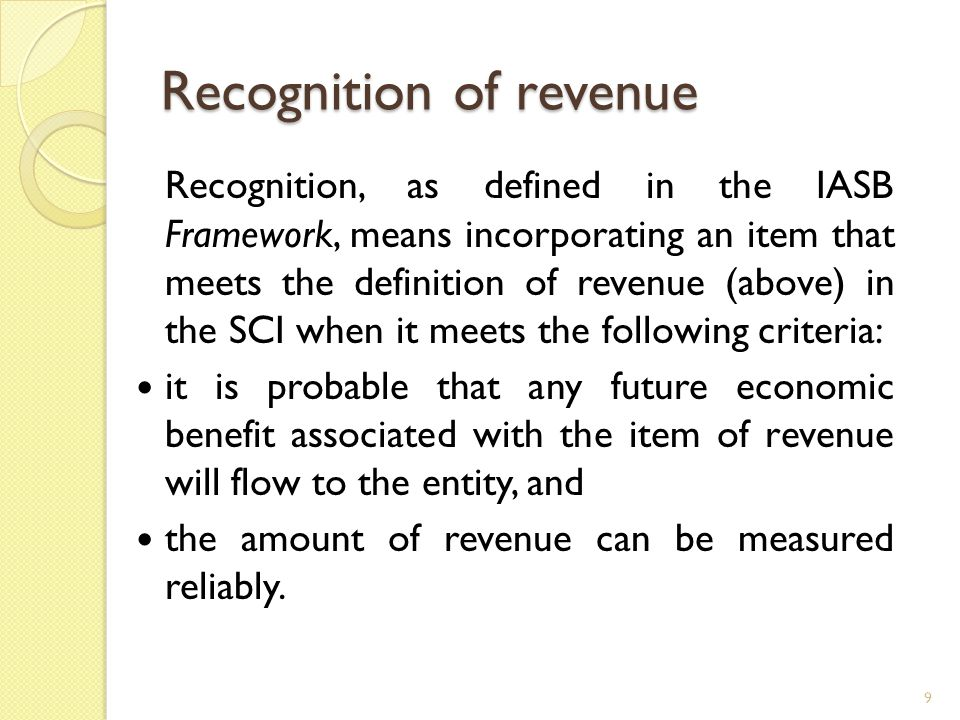 Recognition of revenue Recognition, as defined in the IASB Framework, means incorporating an item that meets the definition of revenue (above) in the