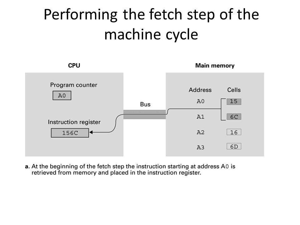 Performing the fetch step of the machine cycle
