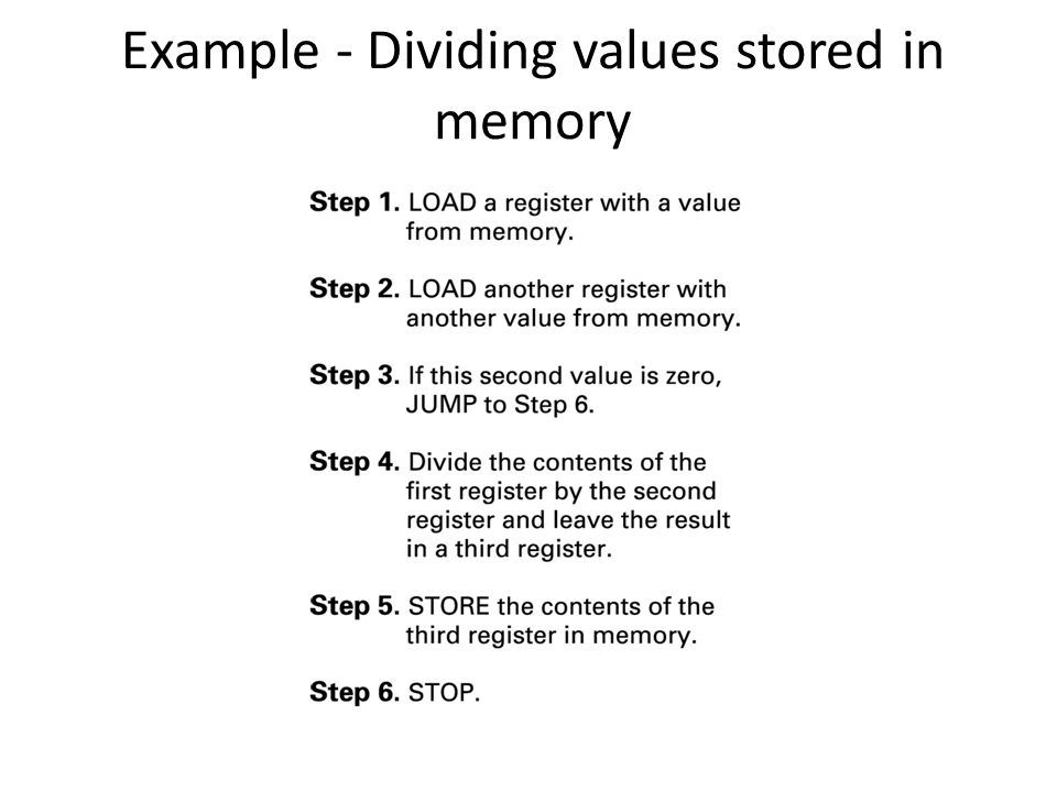 Example - Dividing values stored in memory
