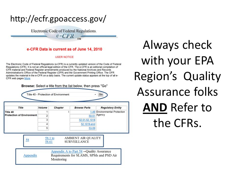 Always check with your EPA Region's Quality Assurance folks AND Refer to the CFRs.