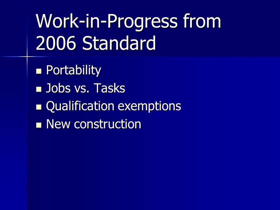Work-in-Progress from 2006 Standard Portability Portability Jobs vs.