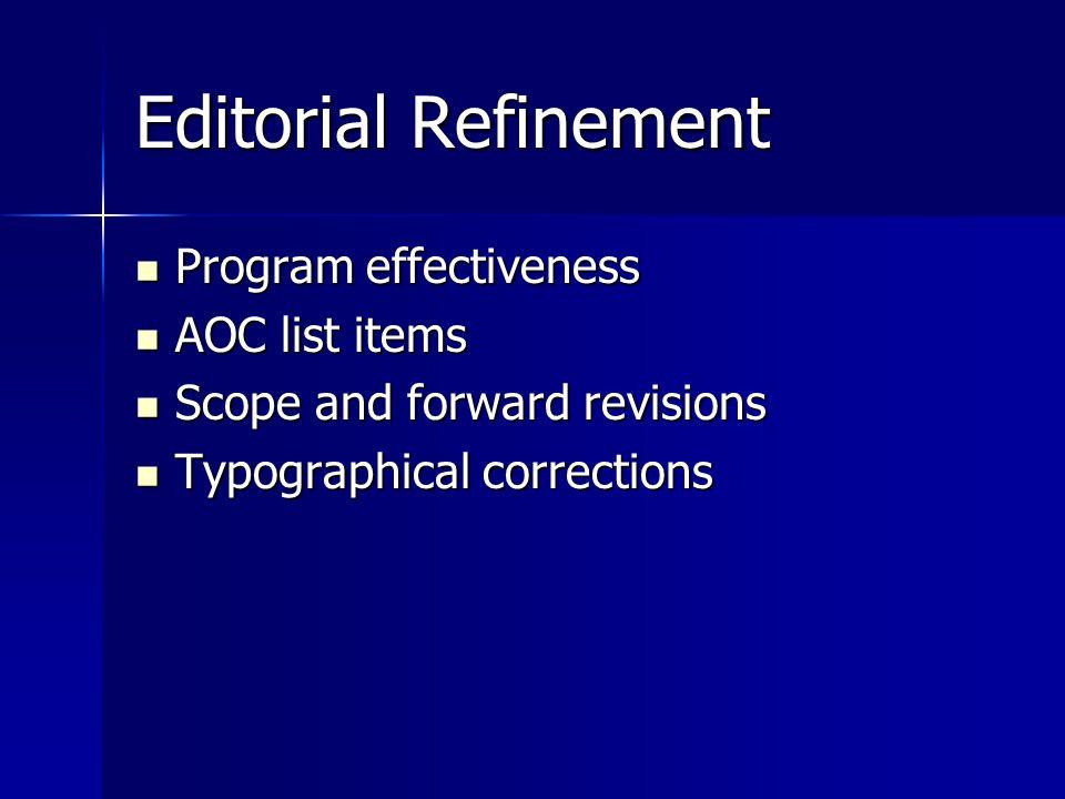Editorial Refinement Program effectiveness Program effectiveness AOC list items AOC list items Scope and forward revisions Scope and forward revisions Typographical corrections Typographical corrections