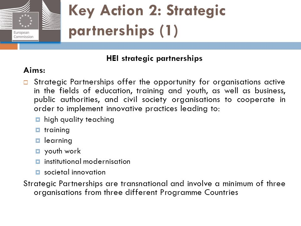 Key Action 2: Strategic partnerships (1) HEI strategic partnerships Aims:  Strategic Partnerships offer the opportunity for organisations active in t