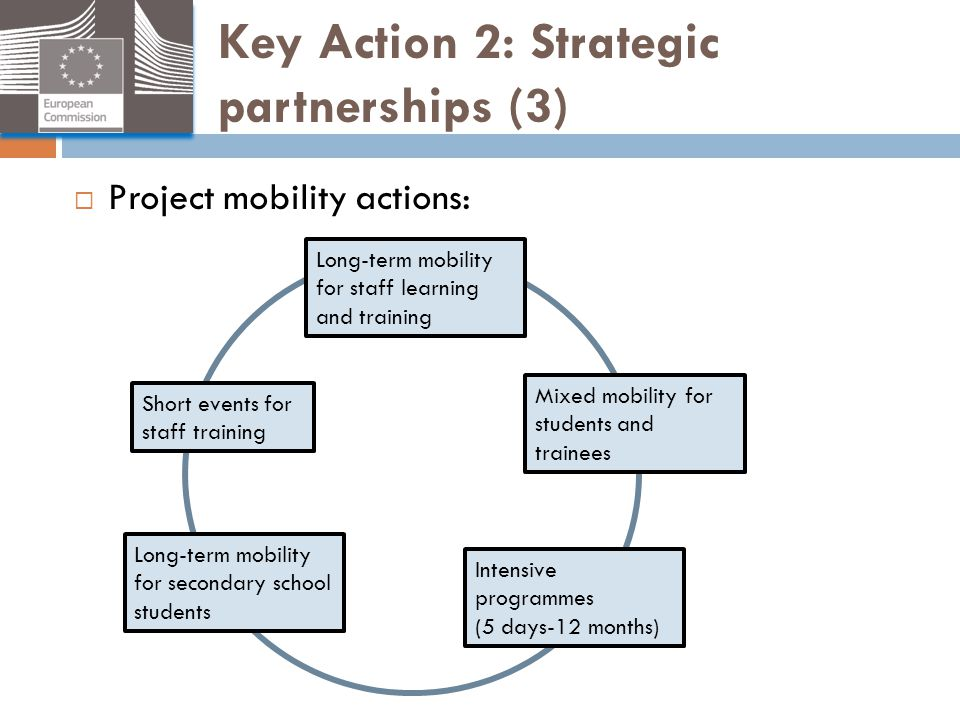 Key Action 2: Strategic partnerships (3)  Project mobility actions: Long-term mobility for staff learning and training Mixed mobility for students an