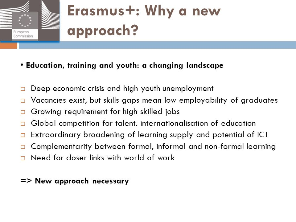 Erasmus+: Why a new approach? Education, training and youth: a changing landscape  Deep economic crisis and high youth unemployment  Vacancies exist