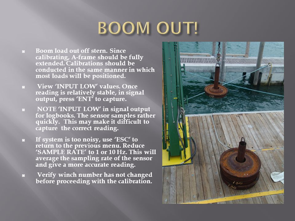◙ Boom load out off stern. Since calibrating, A-frame should be fully extended. Calibrations should be conducted in the same manner in which most load