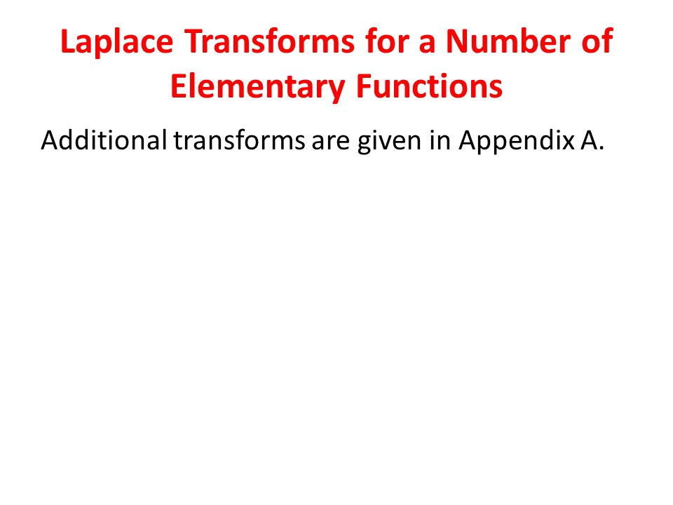 Laplace Transforms for a Number of Elementary Functions Additional transforms are given in Appendix A.
