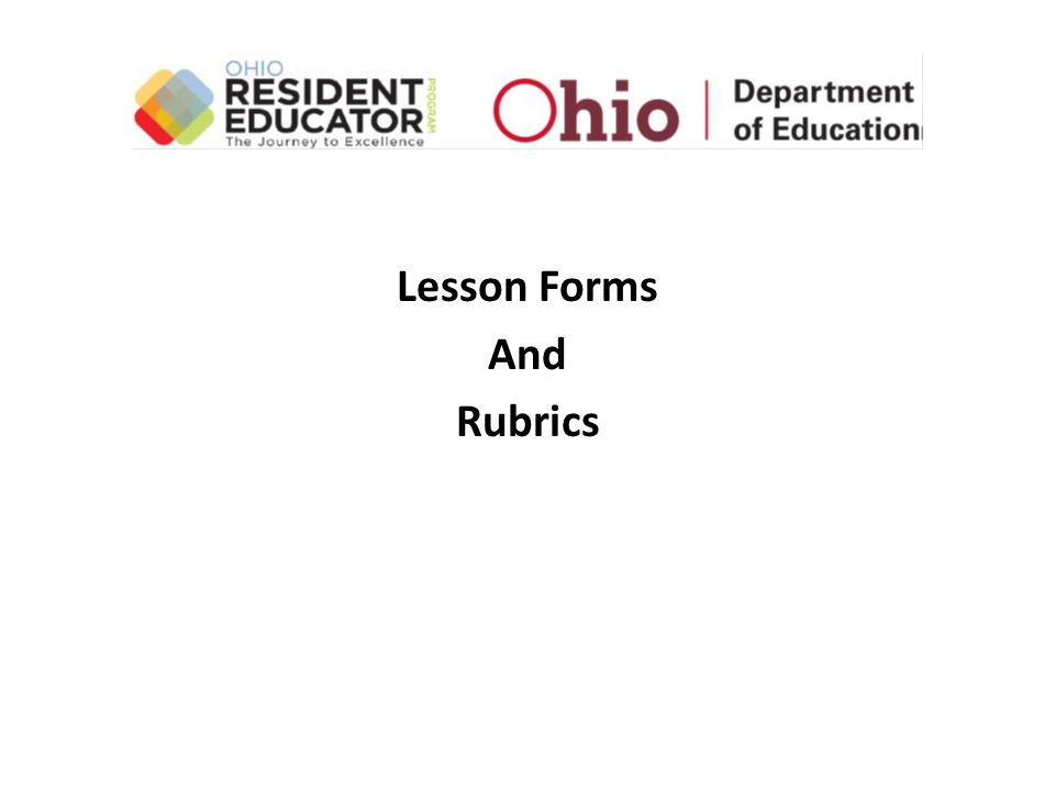 Lesson Forms And Rubrics