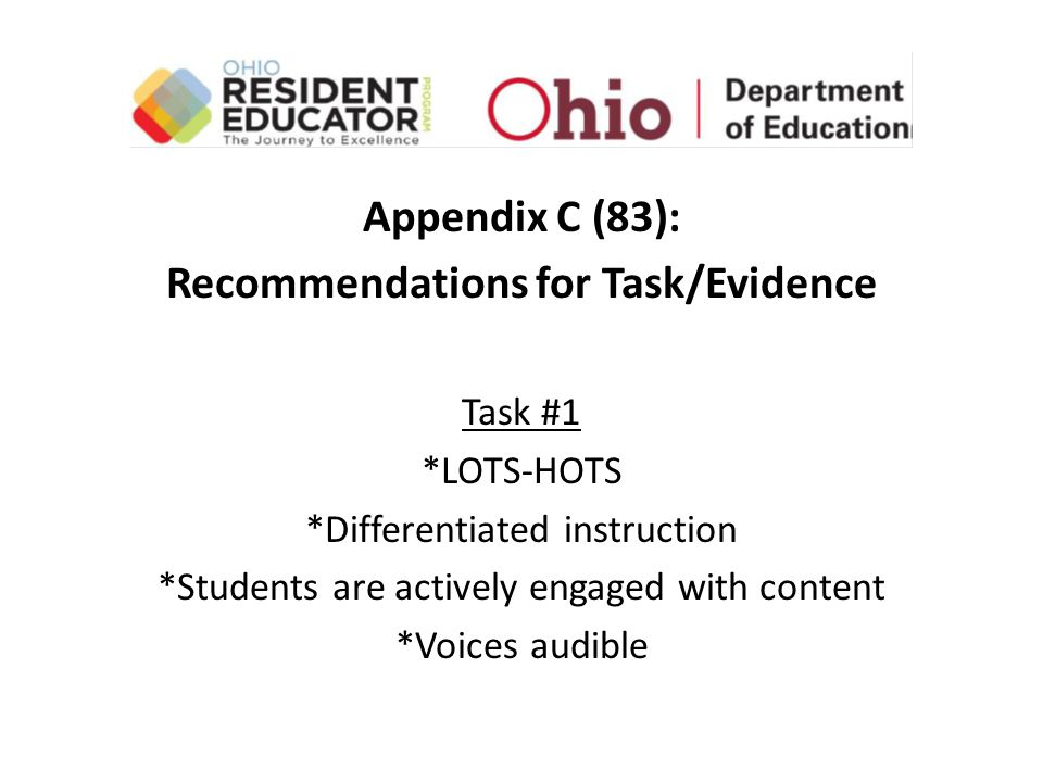 Appendix C (83): Recommendations for Task/Evidence Task #1 *LOTS-HOTS *Differentiated instruction *Students are actively engaged with content *Voices