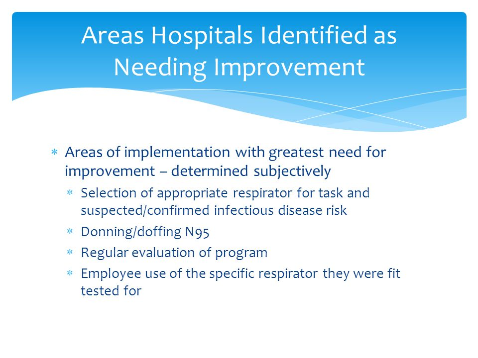 Areas Hospitals Identified as Needing Improvement  Areas of implementation with greatest need for improvement – determined subjectively  Selection of appropriate respirator for task and suspected/confirmed infectious disease risk  Donning/doffing N95  Regular evaluation of program  Employee use of the specific respirator they were fit tested for