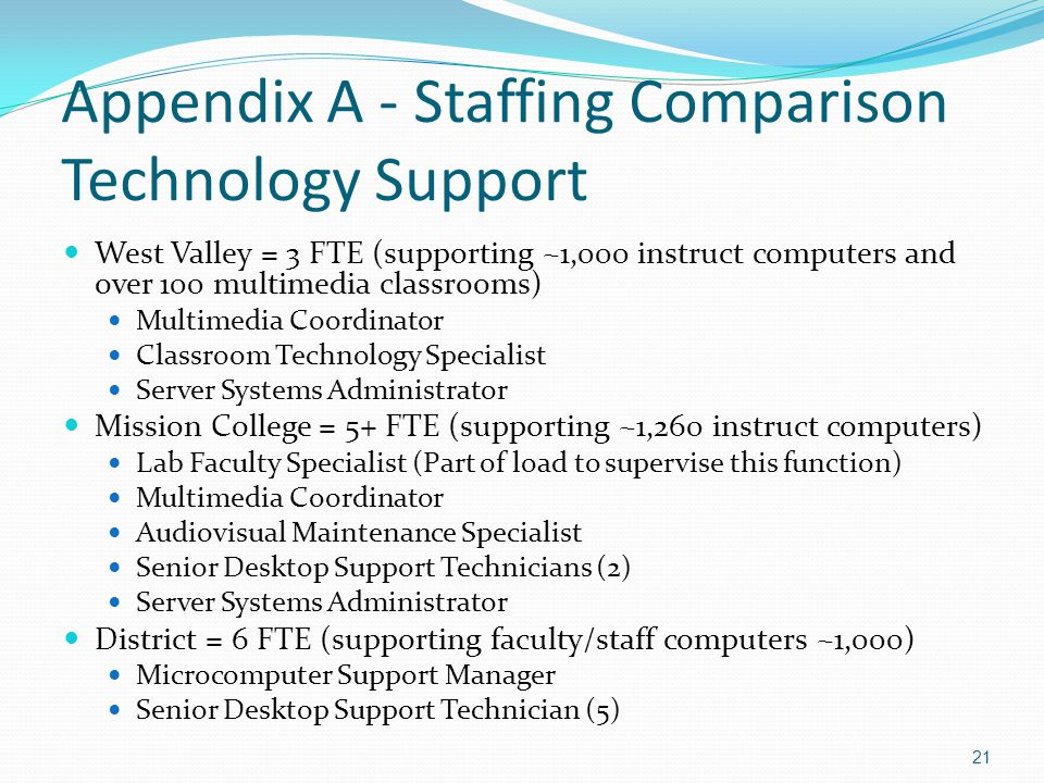 Appendix A - Staffing Comparison Technology Support West Valley = 3 FTE (supporting ~1,000 instruct computers and over 100 multimedia classrooms) Multimedia Coordinator Classroom Technology Specialist Server Systems Administrator Mission College = 5+ FTE (supporting ~1,260 instruct computers) Lab Faculty Specialist (Part of load to supervise this function) Multimedia Coordinator Audiovisual Maintenance Specialist Senior Desktop Support Technicians (2) Server Systems Administrator District = 6 FTE (supporting faculty/staff computers ~1,000) Microcomputer Support Manager Senior Desktop Support Technician (5) 21