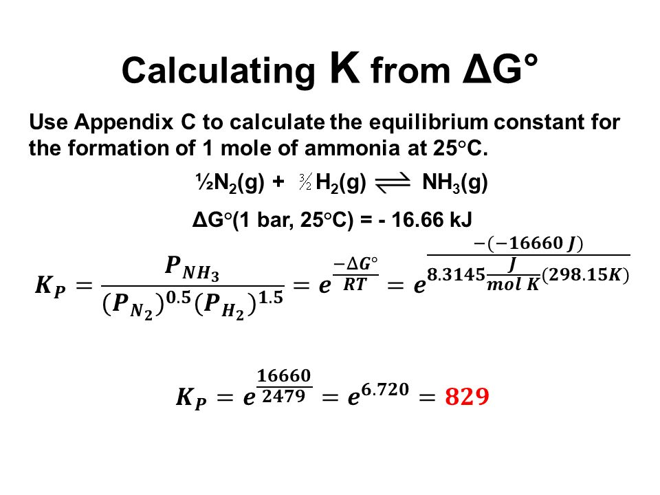 Calculating K from ΔG°