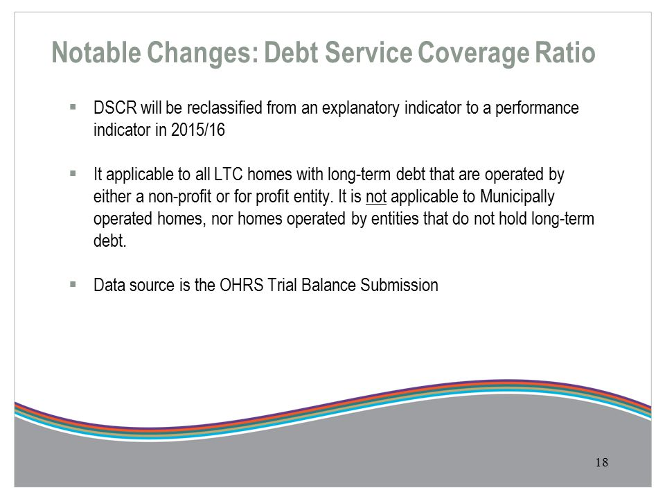 Notable Changes: Debt Service Coverage Ratio 18  DSCR will be reclassified from an explanatory indicator to a performance indicator in 2015/16  It applicable to all LTC homes with long-term debt that are operated by either a non-profit or for profit entity.