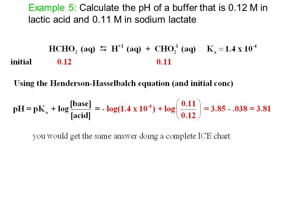 Example 5: Calculate the pH of a buffer that is 0.12 M in lactic acid and 0.11 M in sodium lactate