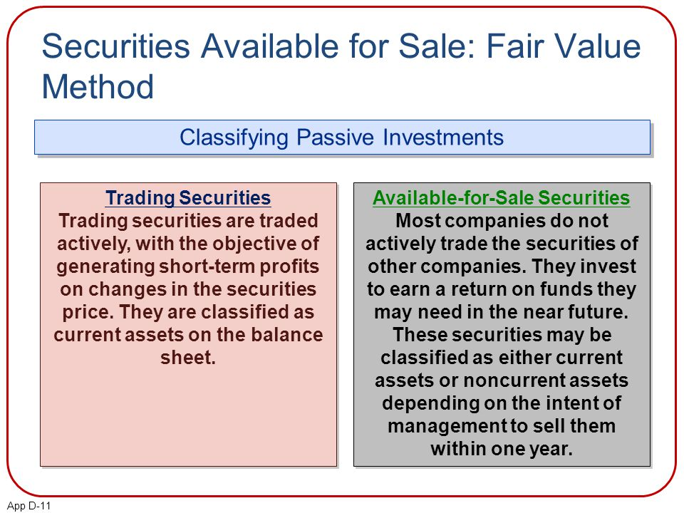 App D-11 Securities Available for Sale: Fair Value Method Classifying Passive Investments Trading Securities Trading securities are traded actively, with the objective of generating short-term profits on changes in the securities price.