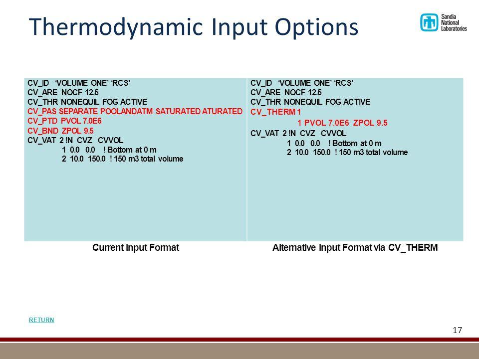 Thermodynamic Input Options CV_ID 'VOLUME ONE' 'RCS' CV_ARE NOCF 12.5 CV_THR NONEQUIL FOG ACTIVE CV_PAS SEPARATE POOLANDATM SATURATED ATURATED CV_PTD PVOL 7.0E6 CV_BND ZPOL 9.5 CV_VAT 2 !N CVZ CVVOL 1 0.0 0.0 .