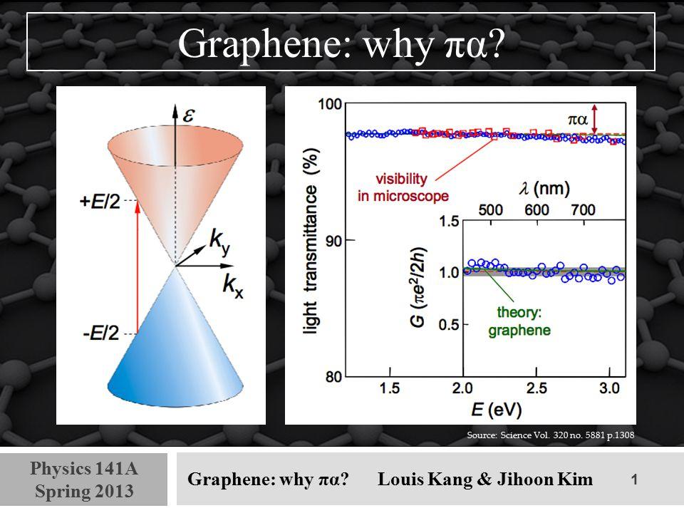 2 Physics 141A Spring 2013 Graphene: why πα.