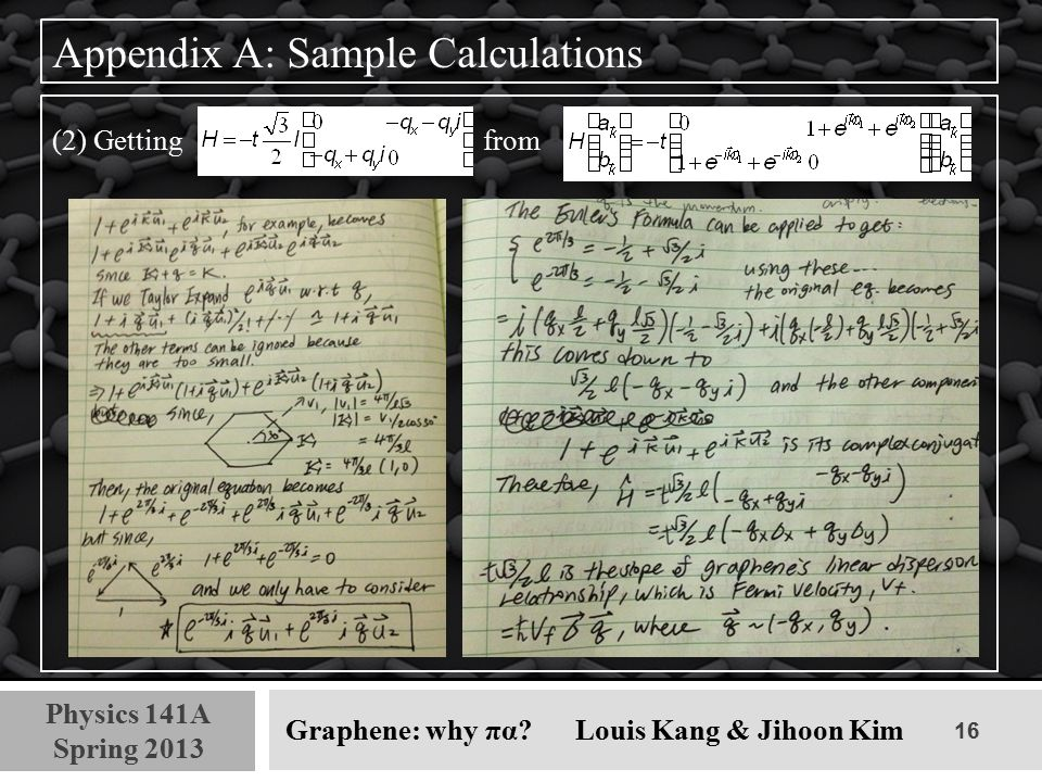 16 Physics 141A Spring 2013 Graphene: why πα? Louis Kang & Jihoon Kim Appendix A: Sample Calculations (2) Getting from