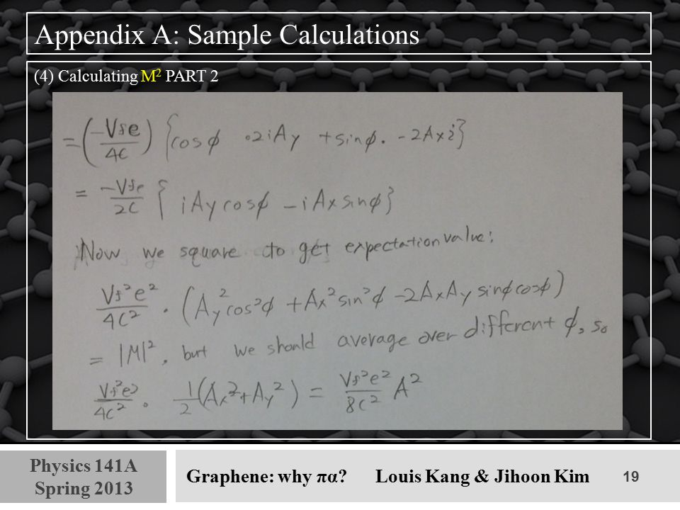 19 Physics 141A Spring 2013 Graphene: why πα? Louis Kang & Jihoon Kim Appendix A: Sample Calculations (4) Calculating M 2 PART 2