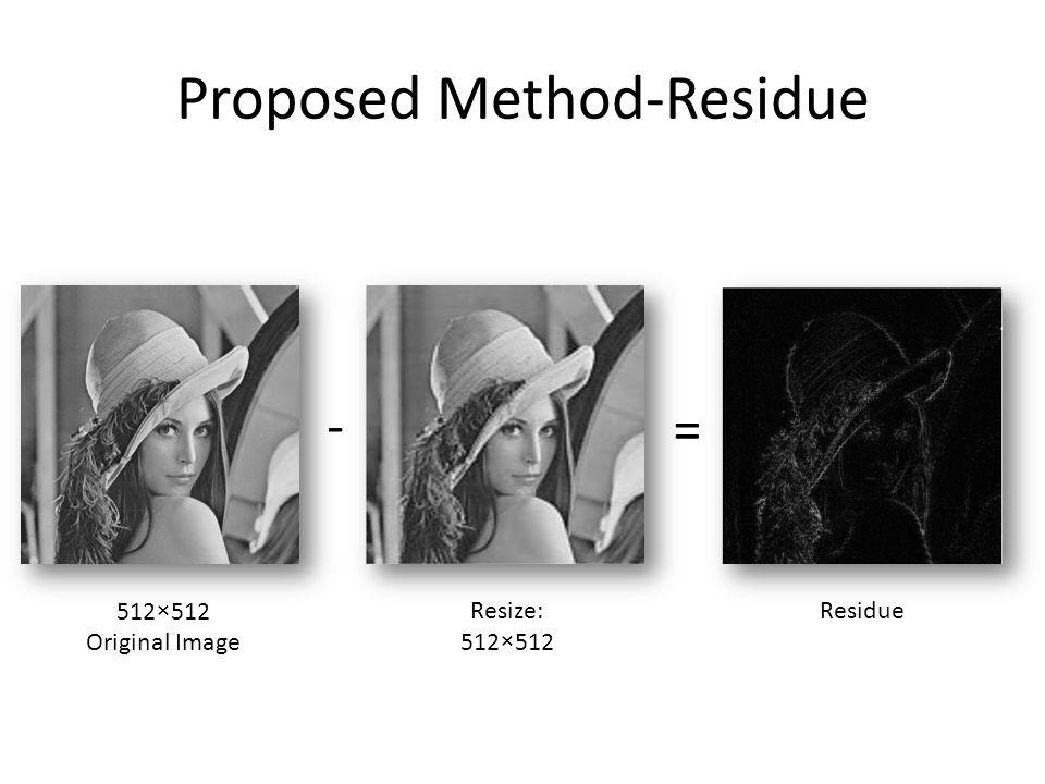 Proposed Method-Residue - = 512×512 Original Image Resize: 512×512 Residue