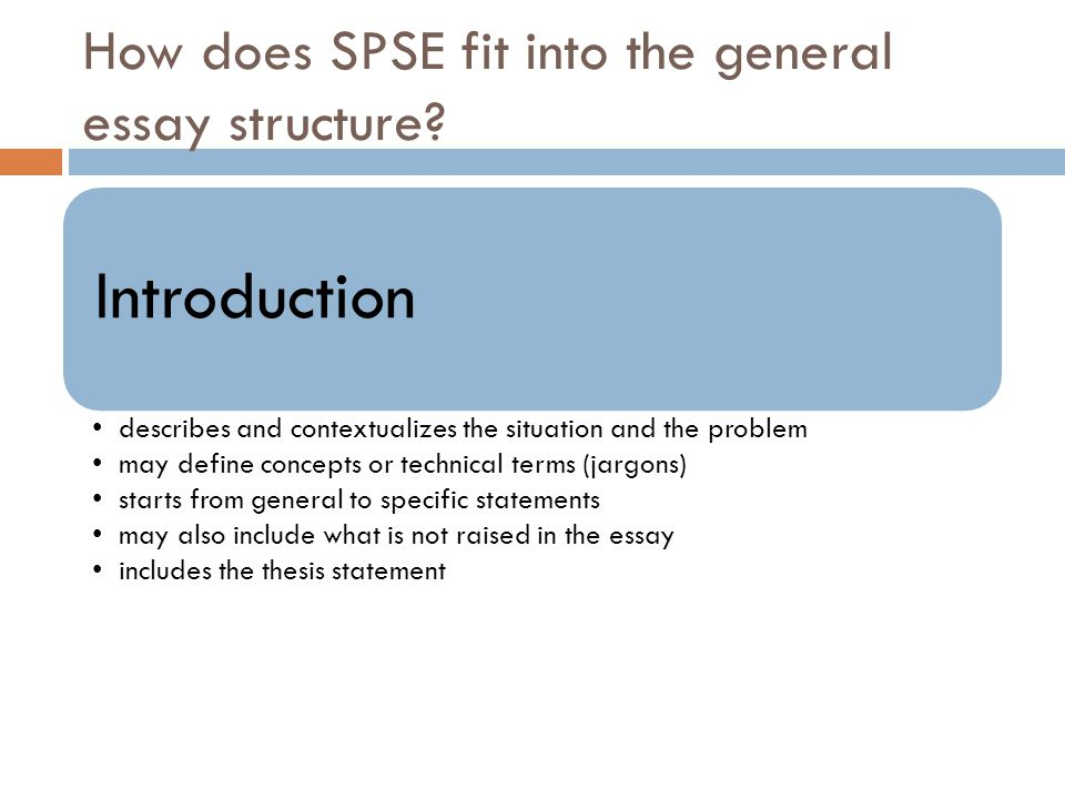How does SPSE fit into the general essay structure? Introduction describes and contextualizes the situation and the problem may define concepts or tec