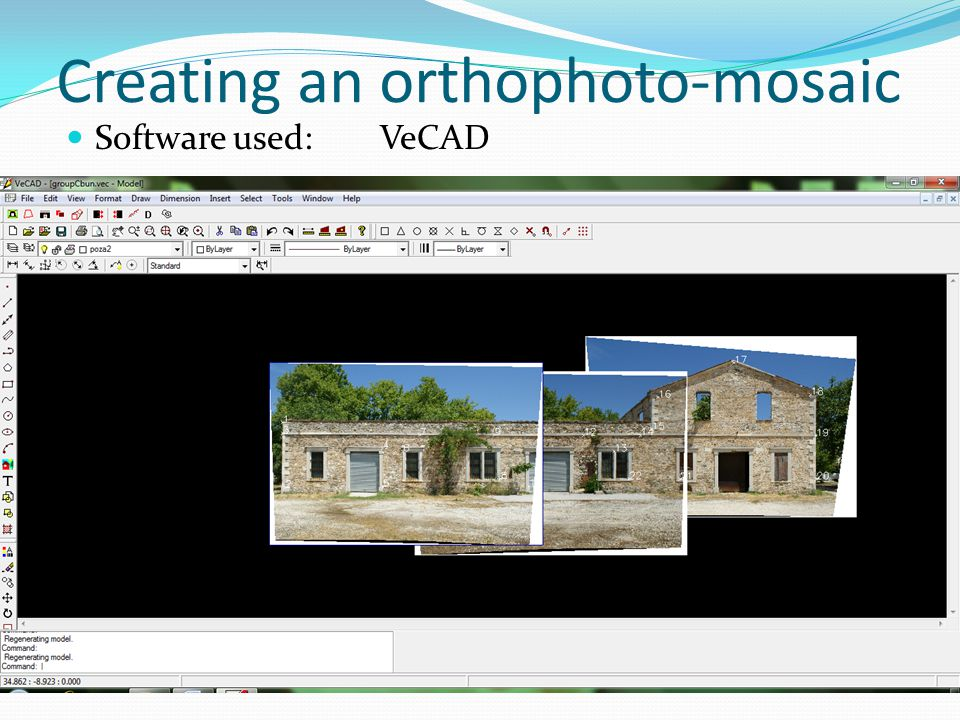 Creating an orthophoto-mosaic Software used: VeCAD