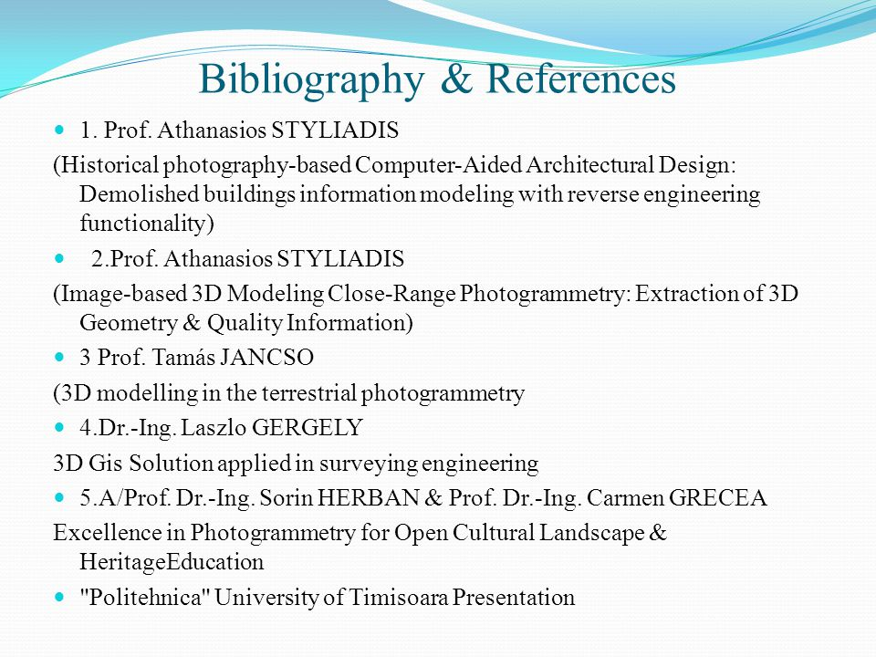 Bibliography & References 1. Prof.