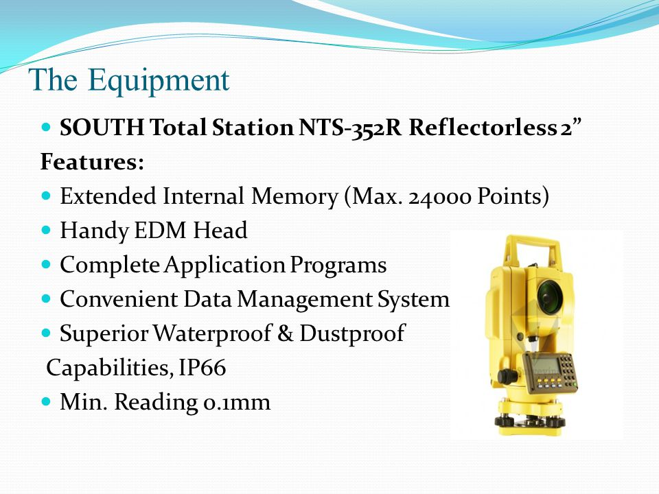 The Equipment SOUTH Total Station NTS-352R Reflectorless 2 Features: Extended Internal Memory (Max.