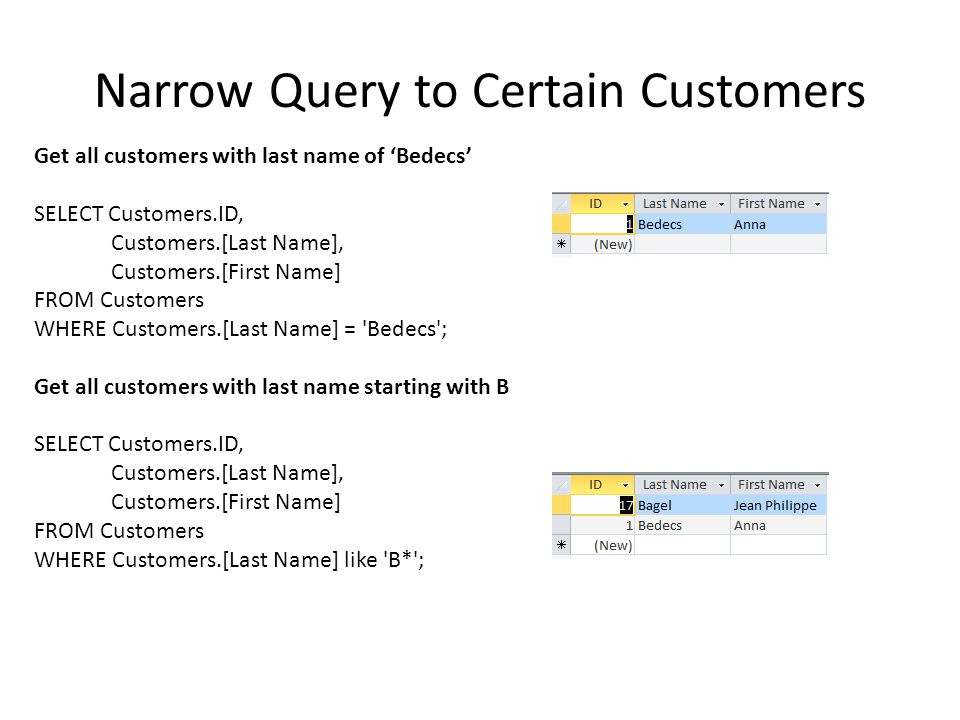 Narrow Query to Certain Customers Get all customers with last name of 'Bedecs' SELECT Customers.ID, Customers.[Last Name], Customers.[First Name] FROM