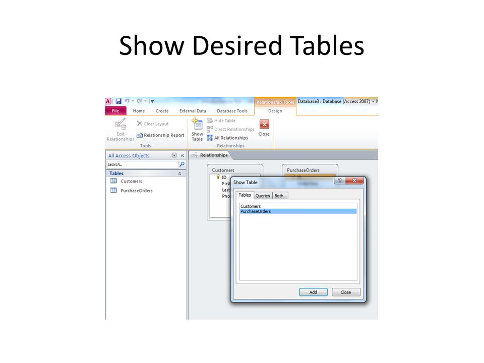Show Desired Tables