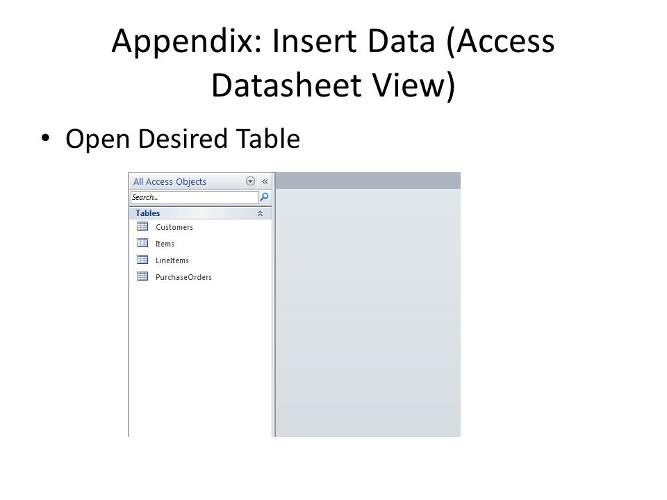 Appendix: Insert Data (Access Datasheet View) Open Desired Table